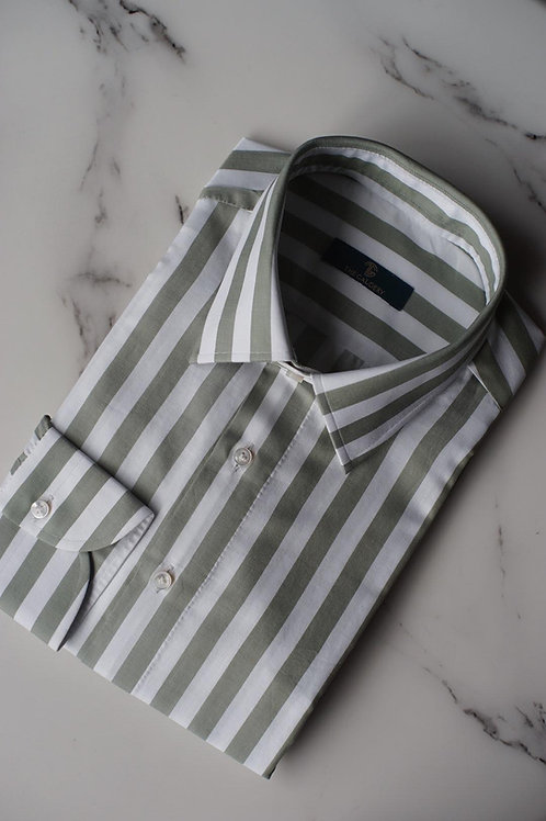 Light Green Bold Striped Cotton Shirt