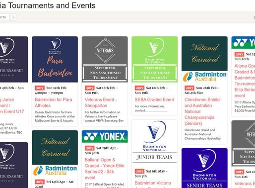 Launch of Badminton Victoria's New Online Tournament Calendar
