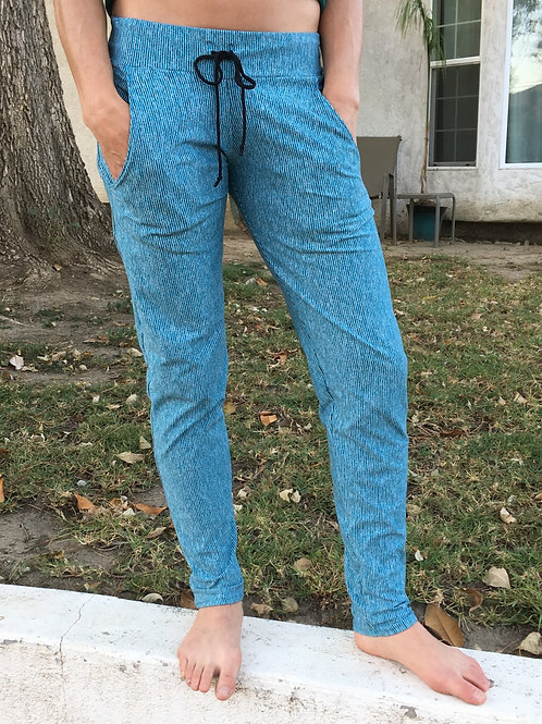 Turquoise Pin-Stripe Relaxed Fit