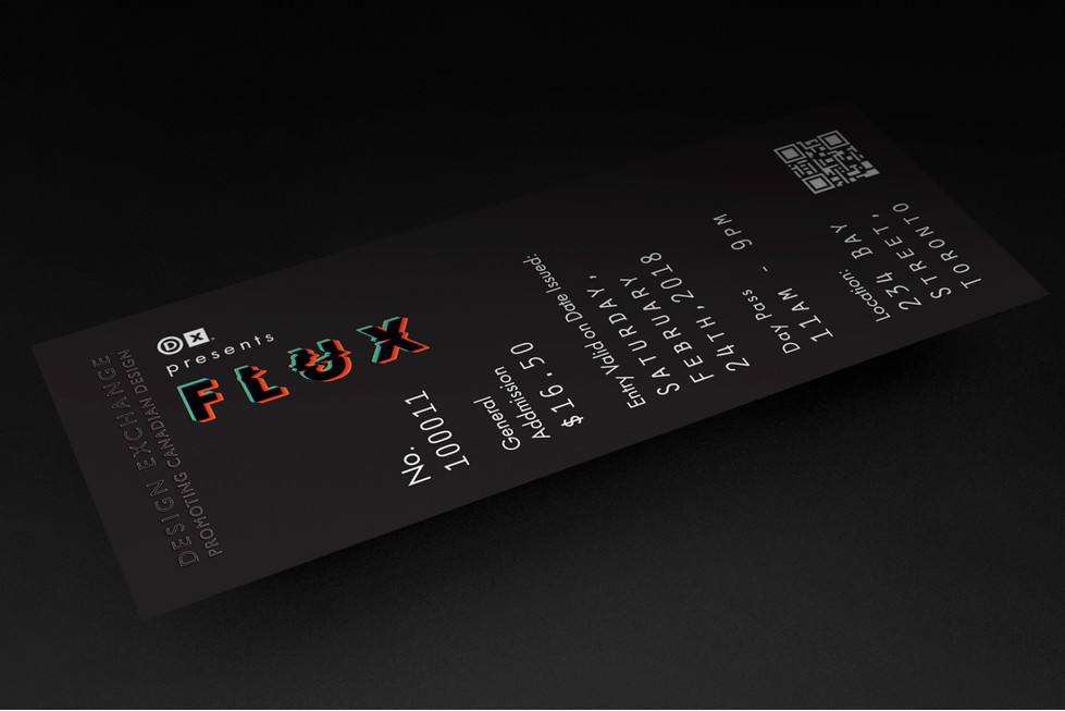 Flux Exhibition ticket mock ups