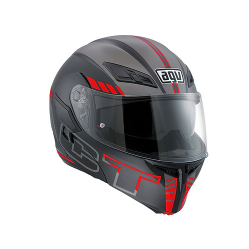AGV Compact SEATTLE MATT BLACK-SILVER-RED