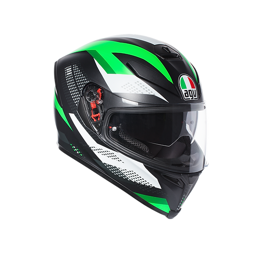 AGV K-5 S MARBLE MATT BLACK-WHITE-GREEN