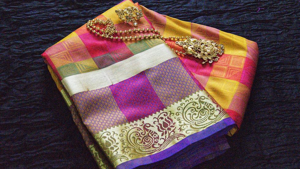 Multicolored checked saree