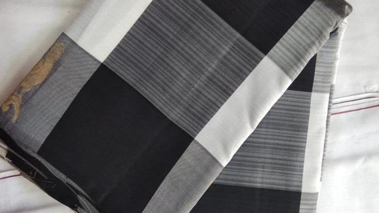 Black and white checked saree