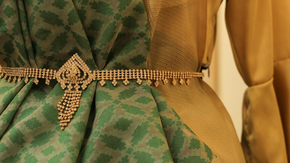 Green and Beige Jacquard saree