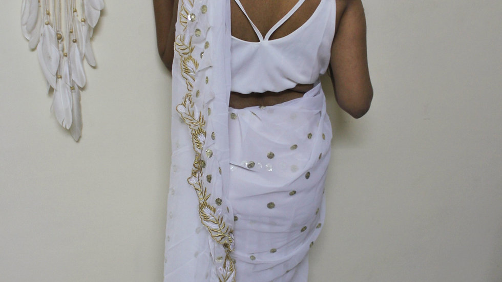 White and gold ruffle saree