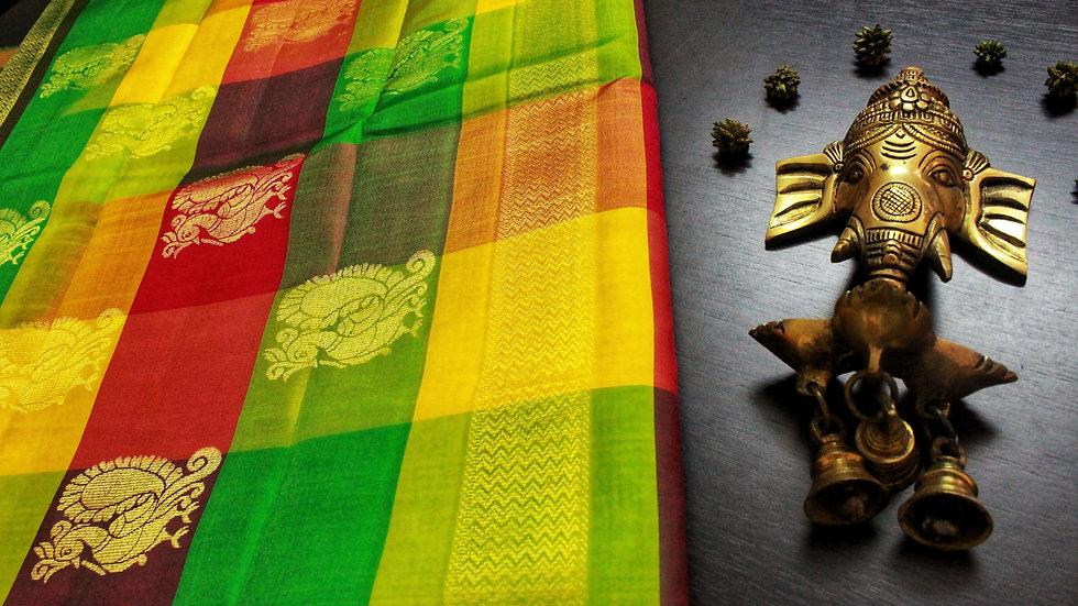 Checked Multicolor Saree