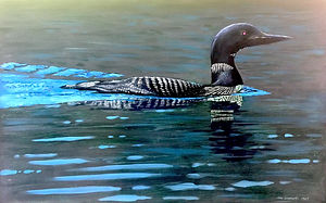 Toni's Loon, oil on panel, 30_x42_, 1987