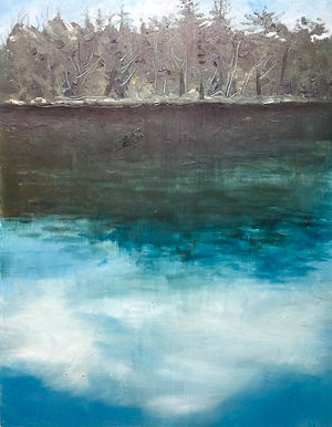 _Greenwood Pond_, Oil on Panel, 16_x12_.