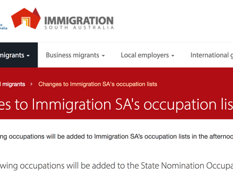 March Update: ACT (Canberra) and South Australia State Nomination Lists Updates