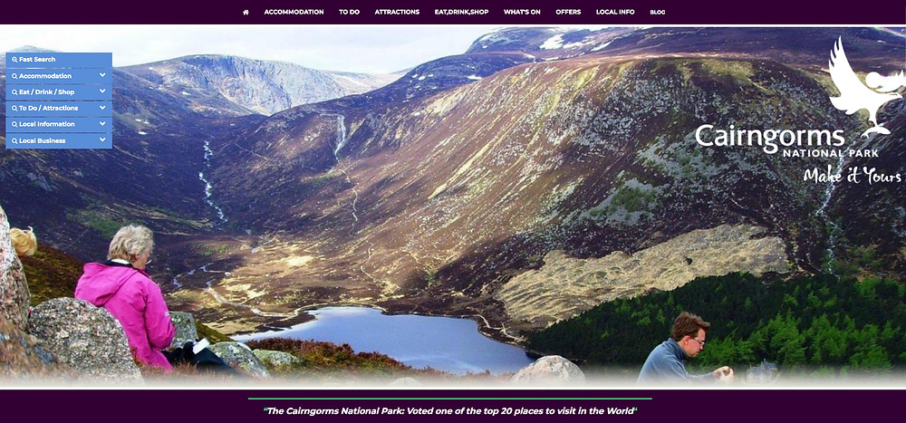 Cairngorms National Park website home page image