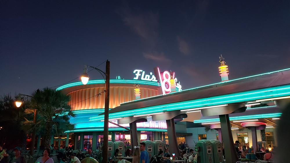 Flo's V8 Cafe at Night