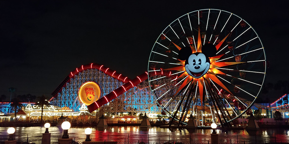 Pixar Pier Lit up at night