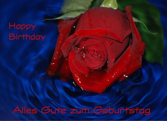 Geburtstagskarte Rote Rose