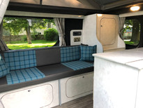 Trafic interior with custom units and upholstery
