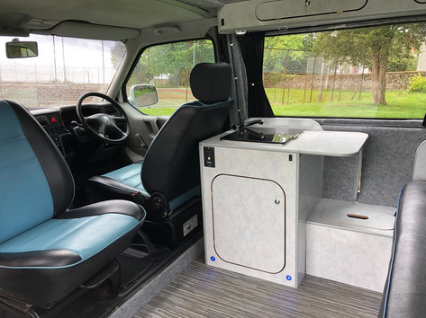 Captains swivel seats and micro unit with sink/hob and storage