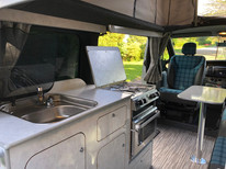 Rear view of trafic camper