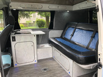 T4 interior, with full width rock and roll bed