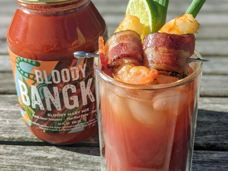 Bloody Bangkok with Bacon-Wrapped Shrimp