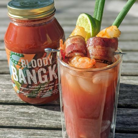 Bloody Bangkok with Bacon-Wrapped Shrimp