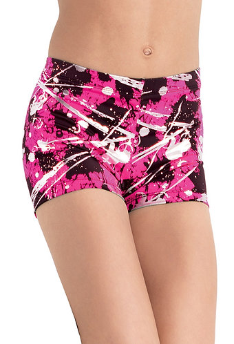 Metallic Splatter Print Dance Shorts