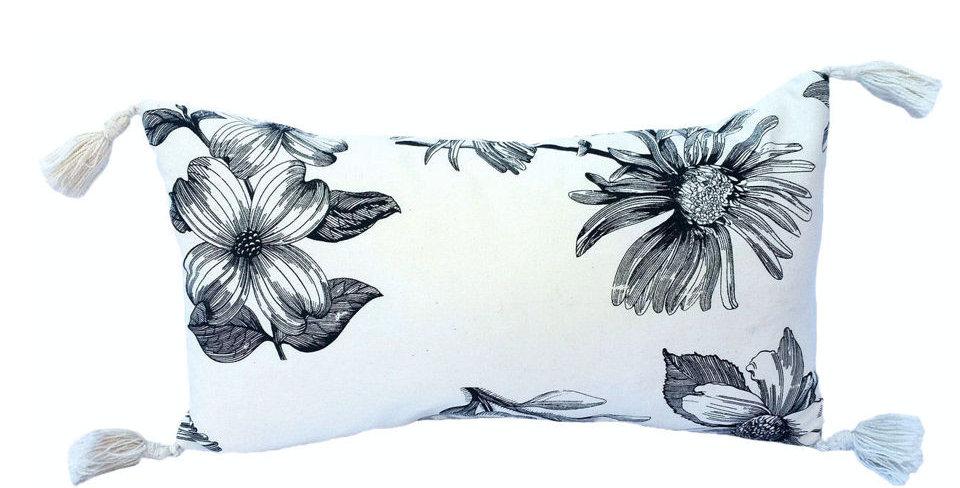 almofada floral preta