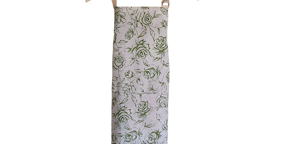 avental rosas pistache