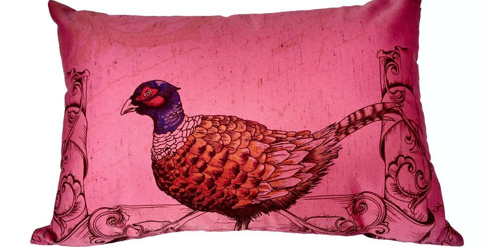 almofada seda faizão rosa retangular