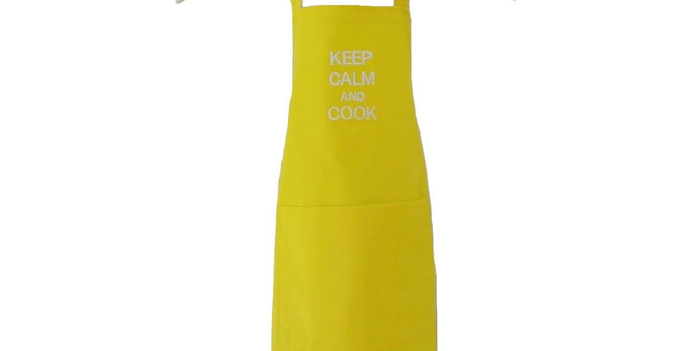 avental keep calm and cook amarelo