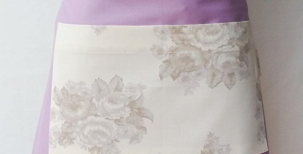 avental cintura fashion floral lilás