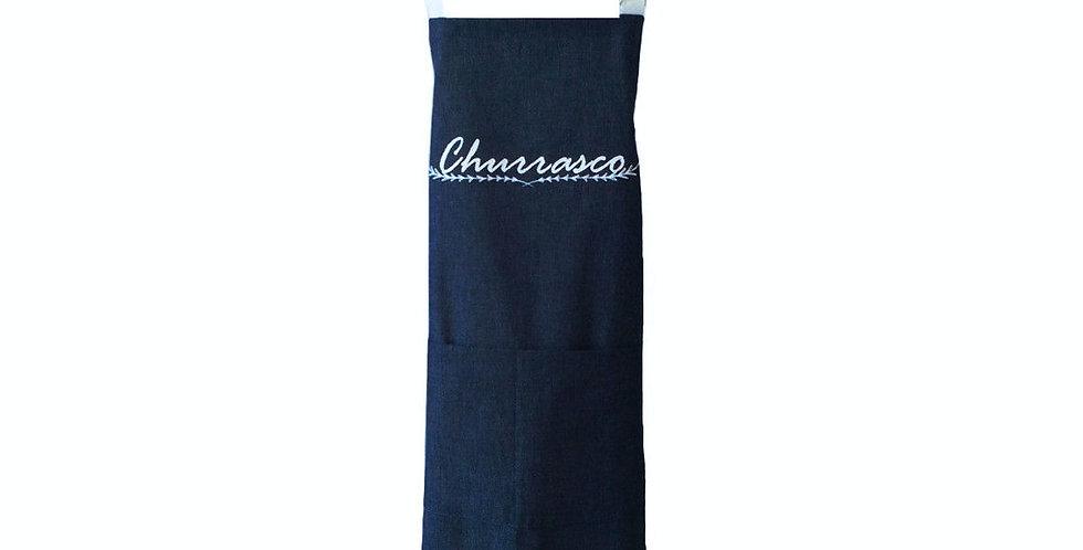 avental churrasco azul