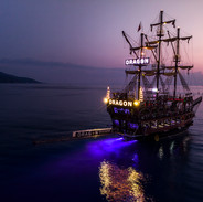 Pirate boat at night
