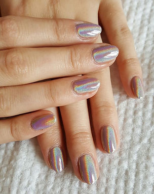 Shellac Chrome Nails.