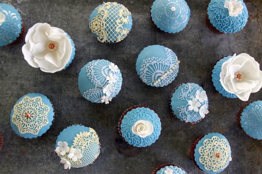 Vintage Cupcakes Blau