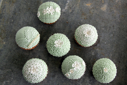 Vintage Cupcakes Green