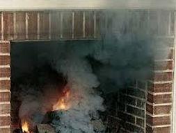 A smoking fireplace