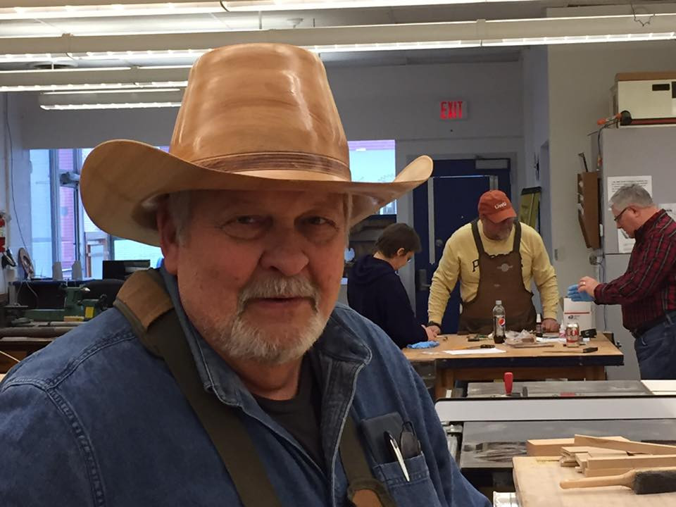 Bill's Wooden Hat - really cool at woodshop