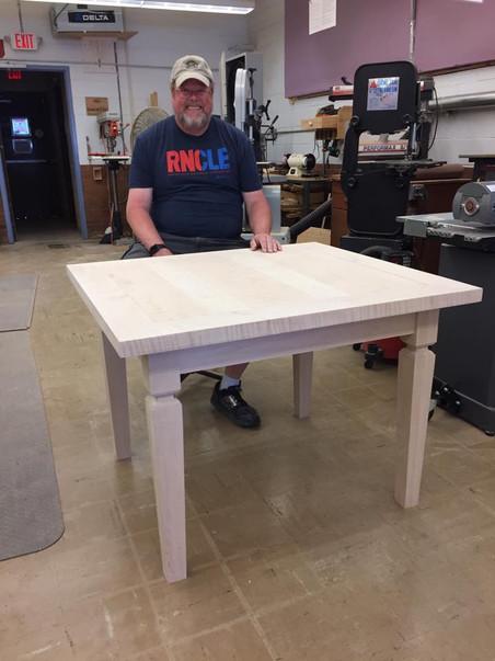 Curly maple table - nice legs