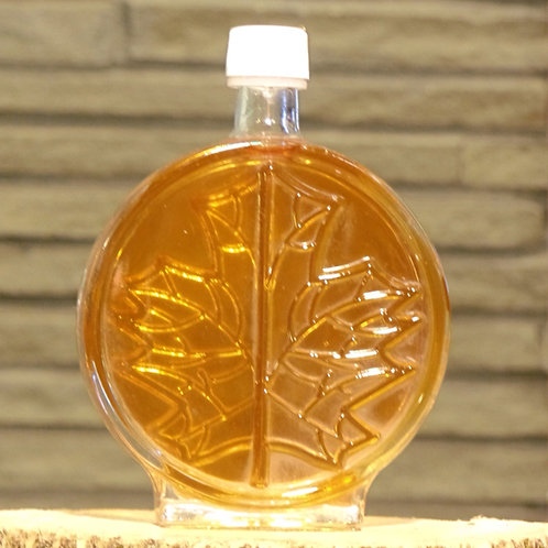 Round Maple Leaf Glass Bottle - Large (250ml)
