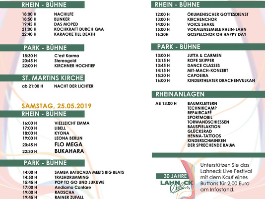 ZEITPLAN - Lahneck Live Festival 2019