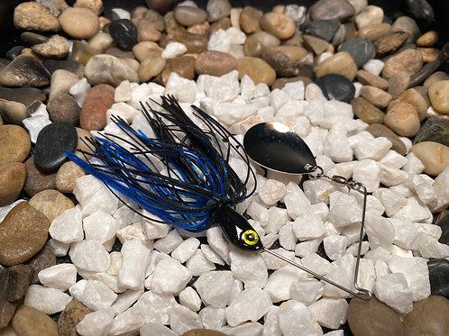 LOUSLURES® Black/Blue Single Blade Spinner Bait