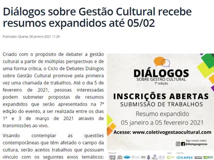 UFRB - Diálogos sobre Gestão Cultural recebe resumos expandidos até 05/02