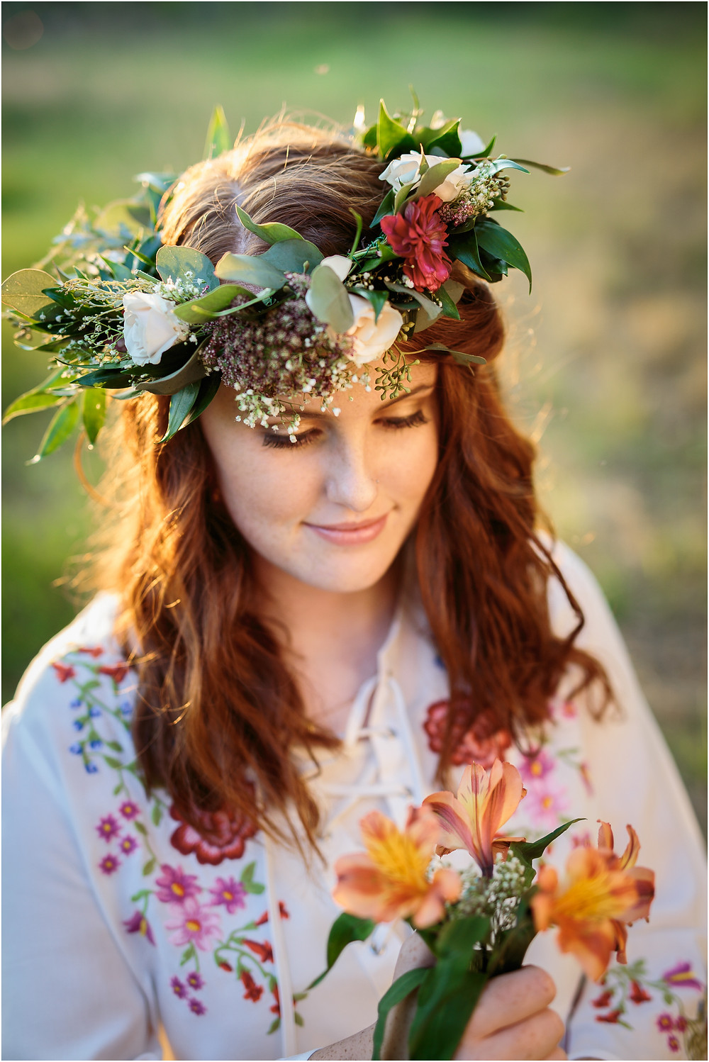 senior girl in floral crown