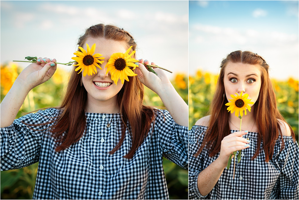 girl senior in sunflower field