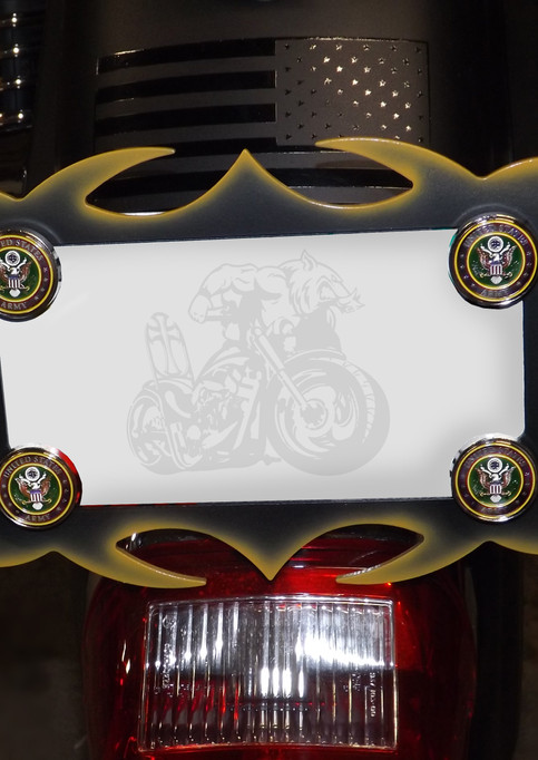 Jeanna's US Army License Plate frame with inset army medallions