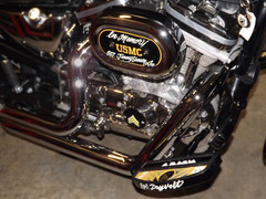 Jeanna's Air breather cover in pinstripe and pinstripe name on face of footboard