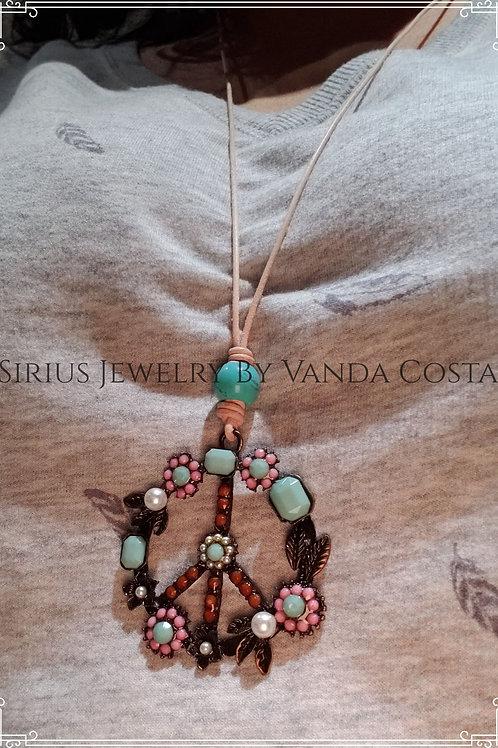 Leather Peace necklace