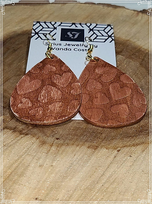 Embossed wood earrings