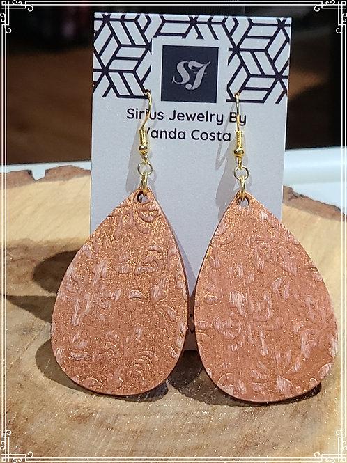 Embossed wood earrings