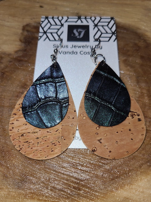 Cork and Leather Earrings